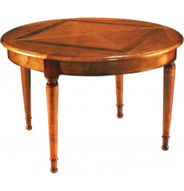 Table ronde marquetée noyer 120cm