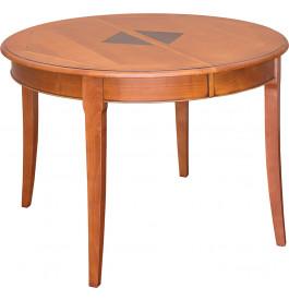 Table ronde merisier pieds sabres 4 allonges 120cm