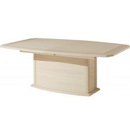 Table tonneau chêne blanchi pied central 1 allonge verre taupe L200