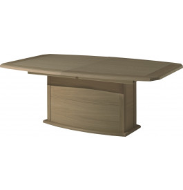 Table tonneau chêne taupe pied central 1 allonge verre anthracite L200