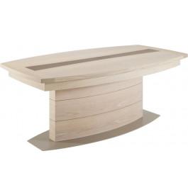 Table tonneau pied central chêne blanchi et chêne gris L200 2 allonges papillons