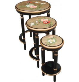 Tables gigognes chinoises rondes laque d'or et noire