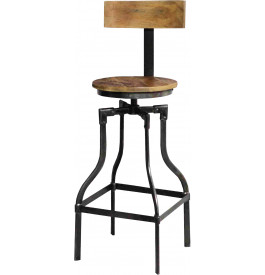 tabouret de bar industriel acacia m tal. Black Bedroom Furniture Sets. Home Design Ideas