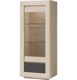Vitrine chêne blanchi 1 porte vitrée 1 tiroir 2 étagères verre décor verre anthracite