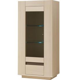 vitrine ch ne blanchi 1 porte vitr e 1 tiroir 2 tag res verre d cor verre taupe. Black Bedroom Furniture Sets. Home Design Ideas