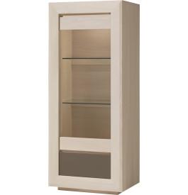 Vitrine chêne blanchi 1 porte vitrée 1 tiroir 2 étagères verre décor verre taupe