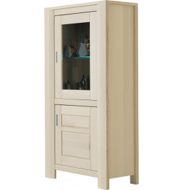 vitrine ch ne blanchi 2 portes 1 tag re verre. Black Bedroom Furniture Sets. Home Design Ideas