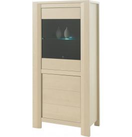 Vitrine chêne blanchi 2 portes 1 étagère verre