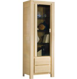 Vitrine chêne blanchi 2 portes 2 étagères verre