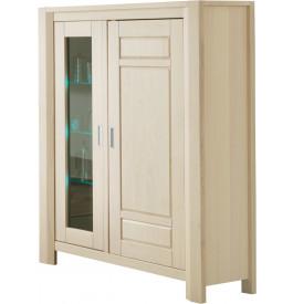 Vitrine chêne blanchi 2 portes 3 étagères verre