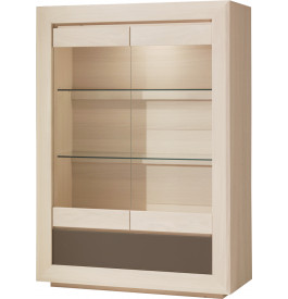 Vitrine chêne blanchi 2 portes vitrées 1 tiroir 2 étagères verre décor verre taupe