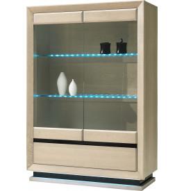 Vitrine chêne blanchi 2 portes vitrées 2 étagères verre 1 tiroir décor verre anthracite