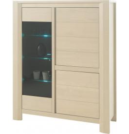 Vitrine chêne blanchi 3 portes 3 étagères verre