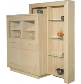 vitrine ch ne blanchi 4 portes avec tag re de compl ment vitrine argentier salon. Black Bedroom Furniture Sets. Home Design Ideas