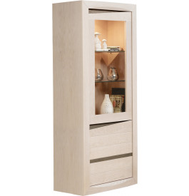 Vitrine chêne blanchi et chêne gris 2 portes
