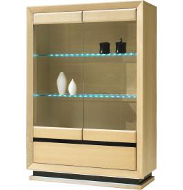 Vitrine chêne clair 2 portes vitrées 2 étagères verre 1 tiroir décor verre anthracite