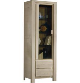 Vitrine chêne gris 2 portes 2 étagères verre