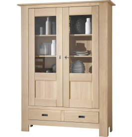 Vitrine chêne massif naturel blanchi 2 portes 1 tiroir