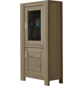 Vitrine chêne taupe 2 portes 1 étagère verre