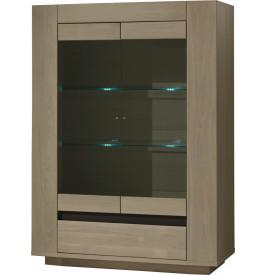 Vitrine chêne taupe 2 portes vitrées 1 tiroir 2 étagères verre décor verre anthracite