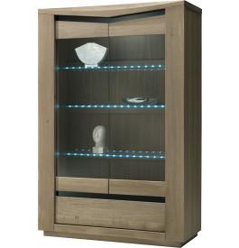 Vitrine chêne taupe 2 portes vitrées 1 tiroir 3 étagères verre
