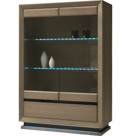 Vitrine chêne taupe 2 portes vitrées 2 étagères verre 1 tiroir décor verre anthracite