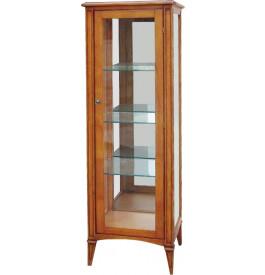 Vitrine teinte merisier 1 porte vitrée étagères en verre