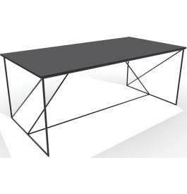 Table de repas industrielle laque noire L180