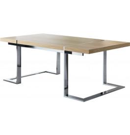Table design rectangulaire chêne naturel pieds inox L220