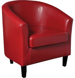 Fauteuil cabriolet simili cuir rouge