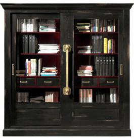 Grande bibliothèque chêne massif 2 portes coulissantes vitrées teintée noir