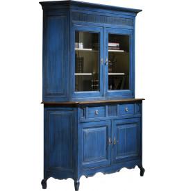 Buffet vaisselier ch ne massif bleu 2 corps 2 portes pieds for Meuble chinois bleu