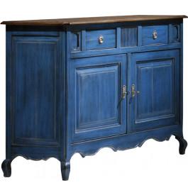 Buffet chêne massif bleu 2 portes 2 tiroirs pieds galbés