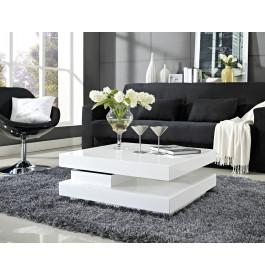 Table basse carrée plateau pivotant blanche - Ambiance