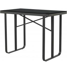 Table haute rectangulaire aluminium gris plateau verre trempé noir L130
