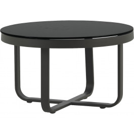 Table Basse Ronde Aluminium Gris Plateau Verre Trempé Noir ø60