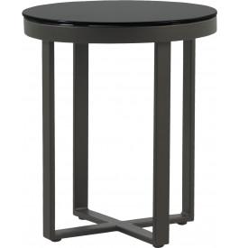 Table basse ronde aluminium gris plateau verre trempé noir Ø45