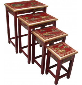 Tables gigognes chinoises rouges