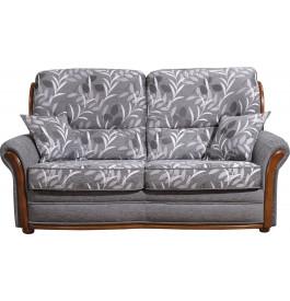 Canapé 2 places Cécile tissu gris motif végétal
