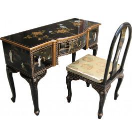 Bureau chinois galbé laque noire 3 tiroirs avec 1 chaise assortis