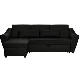 Canapé d'angle convertible 3 places noir