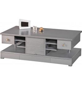 Table basse bar merisier laqué gris rideaux coulissants 8 tiroirs