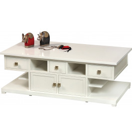 Table basse merisier laqué blanc 6 tiroirs 4 portes
