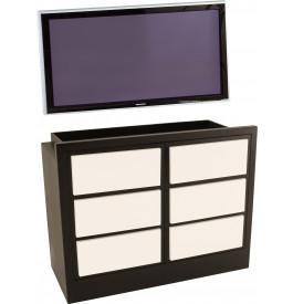 Meuble TV / Hifi LCD Plasma teinte wengé 2 portes laque blanche