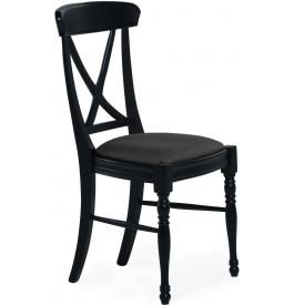 Chaise hêtre massif noir assise tissu gris pieds tournés