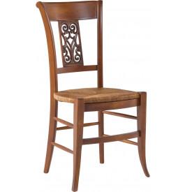 chaise htre massif teinte merisier dossier sculpt assise paille - Chaise Hetre Assise Paille