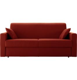 Canapé rapido 4 places convertible STELLA tissu rouge