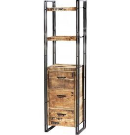 tag re industrielle 2 niveaux 3 tiroirs acacia m tal. Black Bedroom Furniture Sets. Home Design Ideas