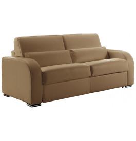 Canapé-lit cuir Rapido 3 places Evan taupe