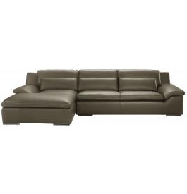 Canapé d'angle L280 cuir Greta gris